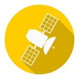 Icône satellite avec la longue ombre Photographie stock