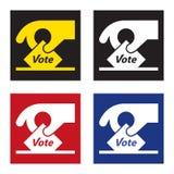 Icône/signe de vote - remettez tenir un glissement de vote Photo libre de droits