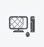 Icône simple de PC sur le fond blanc Icône simple de PC EPS8 Photos libres de droits