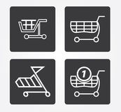 Icône simple de Web dans : panier à provisions Photographie stock