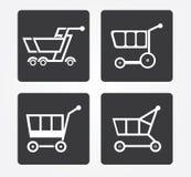 Icône simple de Web dans : panier à provisions Photos stock