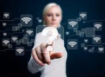 Icône sociale de question de bouton d'affaires de Wifi de réseau Photographie stock libre de droits
