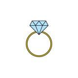 Icône solide de bague à diamant de mariage, bague de fiançailles Images libres de droits