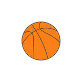 Icône solide de boule de basket-ball, sport, graphiques de vecteur Image stock