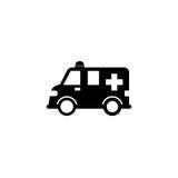Icône solide de voiture d'ambulance, signe de healtcare Photos stock
