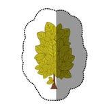icône stylisée d'arbre d'autocollant de vert de chaux Image libre de droits