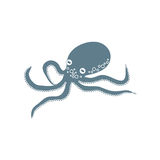 Icône stylisée d'un poulpe coloré sur un fond blanc Photo stock