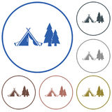 Icône stylisée de tente de touristes Photos libres de droits