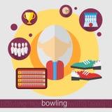 Icône supérieure de femme de joueur de jeu de bowling illustration stock