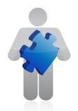 Icône tenant un morceau de puzzle illustration stock