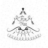 Icône tirée par la main avec une illustration de vecteur d'arbre de sapin pour Noël illustration de vecteur