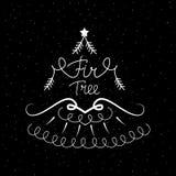Icône tirée par la main avec une illustration de vecteur d'arbre de sapin pour Noël illustration stock