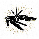 Icône tirée par la main avec une illustration suisse texturisée de vecteur de couteau Images libres de droits