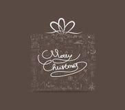 Icône tirée par la main d'ornement de cadeau de Noël Carte de voeux Images libres de droits