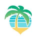 Icône tropicale en forme de coeur de plage et de palmier illustration libre de droits