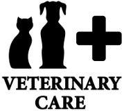 Icône vétérinaire noire de soin avec l'animal familier, croix Photos libres de droits
