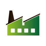 Icône verte de bâtiment d'usine Photo stock