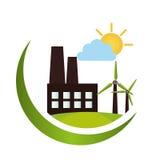 Icône verte de bâtiment d'usine Images libres de droits