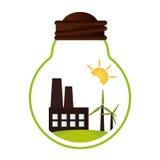 Icône verte de bâtiment d'usine Photographie stock libre de droits