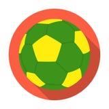 Icône verte de ballon de football dans le style plat d'isolement sur le fond blanc Symbole de pays du Brésil Photo libre de droits