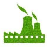 Icône verte de centrale nucléaire Photographie stock libre de droits
