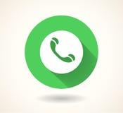 Icône verte de combiné d'isolement sur le fond blanc Symbole social de media de vecteur ENV 10 Images stock