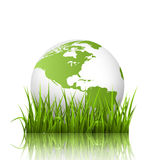 Icône verte de planète avec le globe et l'herbe sur le blanc Photographie stock libre de droits