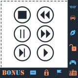 Ic?ne vid?o-audio de boutons de joueur ? plat illustration stock