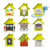 Icônes à la maison de l'électricité Photographie stock libre de droits