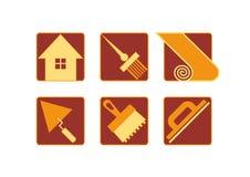 Icônes à la maison de réparation Photo stock