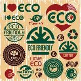 Icônes écologiques réglées. J'aime l'eco. Disparaissent le vert. Photo stock