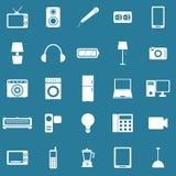 Icônes électriques de machine sur le fond bleu Image libre de droits