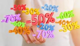 Icônes émouvantes de ventes d'homme d'affaires avec son rendu du doigt 3D Images libres de droits