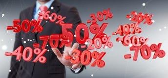 Icônes émouvantes de ventes d'homme d'affaires avec son rendu du doigt 3D Photos stock