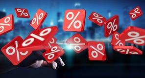 Icônes émouvantes de ventes d'homme d'affaires avec son rendu du doigt 3D Images stock