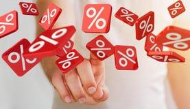 Icônes émouvantes de ventes d'homme d'affaires avec son rendu du doigt 3D Photographie stock libre de droits