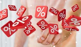 Icônes émouvantes de ventes d'homme d'affaires avec son rendu du doigt 3D Photographie stock