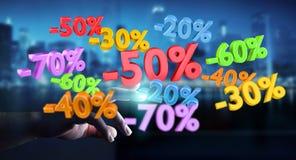 Icônes émouvantes de ventes d'homme d'affaires avec son rendu du doigt 3D Photo libre de droits