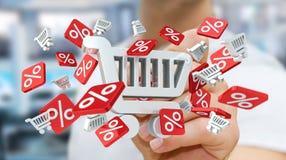 Icônes émouvantes de ventes d'homme d'affaires avec un rendu du stylo 3D Image stock