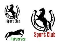 Icônes équestres de sport de course de club ou de cheval Image libre de droits