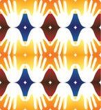 Icônes abstraites de main dans places colorées - fond sans couture Photographie stock