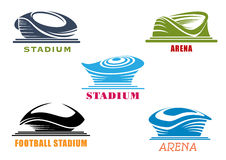 Icônes abstraites modernes de stades et d'arènes de sport Photographie stock libre de droits