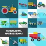 Icônes agricoles d'industrie réglées Photo stock