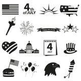 Icônes américaines de célébration de Jour de la Déclaration d'Indépendance réglées Photos libres de droits