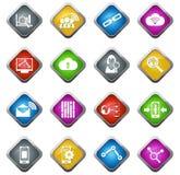 Icônes analytiques et sociales de données de réseau Photo libre de droits