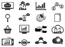 Icônes analytiques et sociales de données de réseau Photographie stock