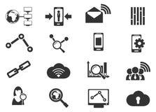 Icônes analytiques et sociales de données de réseau Photo stock
