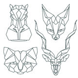 Icônes animales africaines, ensemble d'icône de vecteur Style triangulaire abstrait Images stock