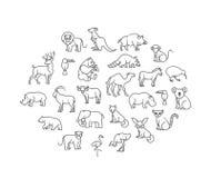 Icônes animales Animaux de zoo Images libres de droits