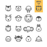 Icônes animales de visage réglées Image stock